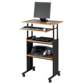 Muv Stand-Up Adjustable-Height Desk, Medium Oak, 29-1/2''W x 22''D x 35'' - 49''H
