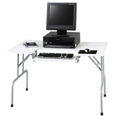 Computer Table, Folding, Gray, 47-1/2''W x 29-3/4''D x 28-3/4''H