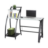 Xpressions Computer Desk, with Side Shelves, Tempered Glass, 53-1/4''W x 23-1/4''D x 45''H