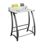 Xpressions Stand-Up Desk, patented Swinging Pendulum Bar, Tempered Glass, 35''W x 23''D x 49''H