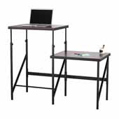 Elevate™ Bi-Level Standing-Height Desk, Walnut, 57-1/2''W x 24''D x 38'' to 50''H