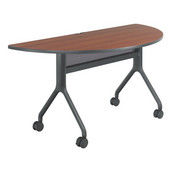Rumba Table, Half Round, Cherry Tabletop & Black Base, 60''W x 30''D x 29-1/2''H