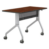 Rumba™ Rectangle Table, 48'' x 24'', Cherry Top/Metallic Gray Base