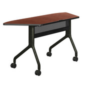 Rumba Table, Trapezoid, Cherry Tabletop & Black Base, 60''W x 24''D x 29-1/2''H