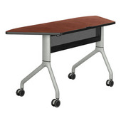 Rumba Table, Trapezoid, Cherry Tabletop & Metallic Gray Base, 60''W x 24''D x 29-1/2''H