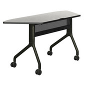 Rumba Table, Trapezoid, Gray Tabletop & Black Base, 60''W x 24''D x 29-1/2''H