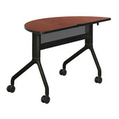 Rumba Table, Half Round, Cherry Tabletop & Black Base, 48''W x 24''D x 29-1/2''H