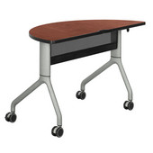 Rumba Table, Half Round, Cherry Tabletop & Metallic Gray Base, 48''W x 24''D x 29-1/2''H