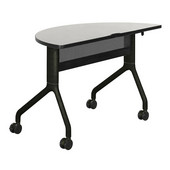 Rumba Table, Half Round, Gray Tabletop & Black Base, 48''W x 24''D x 29-1/2''H