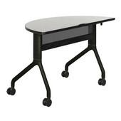 Rumba Table, Half Round, Gray Tabletop & Black Base, 48''W x 24''D x 29-1/2''H