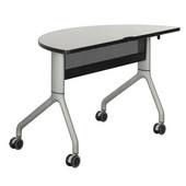 Rumba Table, Half Round, Gray Tabletop & Metallic Gray Base, 48''W x 24''D x 29-1/2''H