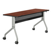 Rumba™ Rectangle Table, 60'' x 24'', Cherry Top/Metallic Gray Base