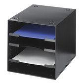 Steel Desktop Organizer, 4 Compartment, Black, 10''W x 12''D x 10''H