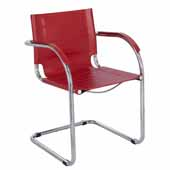 Flaunt Guest Chair, Red Leather, 21-1/2''W x 23''D x 31-3/4''H