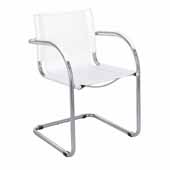 Flaunt Guest Chair, White Leather, 21-1/2''W x 23''D x 31-3/4''H