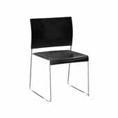 Currant™ High Density Stack Chair, Black Seat, Chrome Frame, 19-3/4''W x 19''D x 32''H, Set of 4