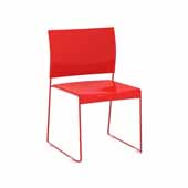 Currant™ High Density Stack Chair, Red Seat, Red Frame, 19-3/4''W x 19''D x 32''H, Set of 4