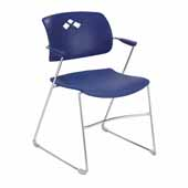 Veer™ Flex Frame Stacking Chair, Blue, 21-1/4''W x 22''D x 32''H - Set of 4