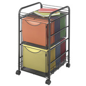 Onyx File Cart, 2 File Drawers, Mesh, Black, 15-3/4''W x 17''D x 27''H