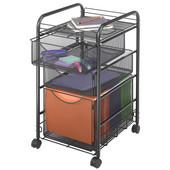 Onyx File Cart, 1 File Drawer/2 Small Drawers, Mesh, Black, 15-3/4''W x 17''D x 27''H