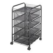 Onyx File Cart, 4 Drawers, Mesh, Black, 15-3/4''W x 17''D x 27''H