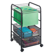 Onyx Open File Cart with Drawers, Mesh, Black, 15-3/4''W x 17''D x 27''H