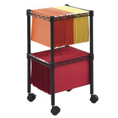 Two-Tier Compact File Cart, Black, 15-1/2''W x 14''D x 27-1/2''H