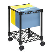 Compact Mobile File Cart, Black, 15-1/2''W x 14''D x 19-3/4''H