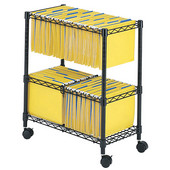 Two-Tier Rolling File Cart, Black, 25-3/4''W x 14''D x 29-3/4''H