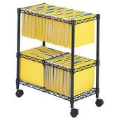 Two-Tier Rolling File Cart, Black, 25-3/4''W x 14''D x 29-3/4''H