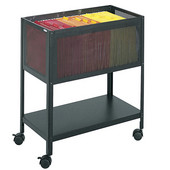 Open Top Mesh Tub File Cart, Black, 13-1/2''W x 24-1/4''D x 27-1/2''H