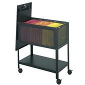 Mesh Tub File Cart with Locking Top, Black, 13-1/2''W x 24-1/4''D x 27-1/2''H