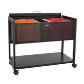 Steel Mobile File Cart with Locking Top, Black, 33-1/4''W x 17''D x 27''H