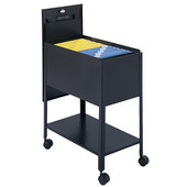 Extra Deep Mobile Tub File Cart with Lock, Black, 13-1/2''W x 24-3/4''D x 28-1/4''H