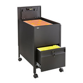 Locking Mobile Tub File Cart with Drawer, Black, 17''W x 26''D x 28''H