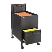 Locking Mobile Tub File Cart with Drawer, Black, 17''W x 26''D x 28''H