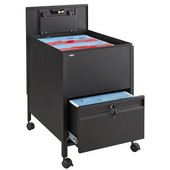 Locking Mobile Tub File Cart with Drawer, Black, 20''W x 25-1/2''D x 27-3/4''H