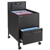 Locking Mobile Tub File Cart with Drawer, Black, 20''W x 25-1/2''D x 27-3/4''H