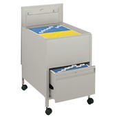 Locking Mobile Tub File Cart with Drawer, Tan, 20''W x 25-1/2''D x 27-3/4''H