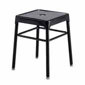 Steel Guest Height Stool, Black, 15-1/4''W x 15-1/4''D x 18''H