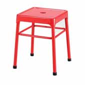 Steel Guest Height Stool, Red, 15-1/4''W x 15-1/4''D x 18''H