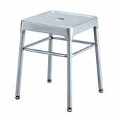 Steel Guest Height Stool, Silver, 15-1/4''W x 15-1/4''D x 18''H