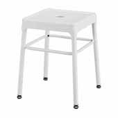 Steel Guest Height Stool, White, 15-1/4''W x 15-1/4''D x 18''H