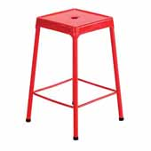 Steel Counter Height Stool, Red, 17-3/4''W x 17-3/4''D x 25''H