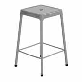 Steel Counter Height Stool, Silver, 17-3/4''W x 17-3/4''D x 25''H