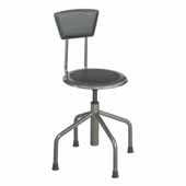 Diesel Low Base Industrial Stool with Back, Pewter, 15''W x 15''D x 30'' to 36''H