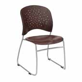 Reve� Guest Chair Round Plastic Wood Back, Mahogany, 19-3/4''W x 23-1/2''D x 33-1/2''H - Set of 2