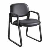Cava� Urth� Sled Base Guest Chair, Black Vinyl, 22-1/2''W x 24''D x 32-1/2''H