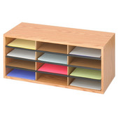 Wood/Corrugated Literature Organizer, 12 Compartment, Medium Oak, 29''W x 12''D x 12''H