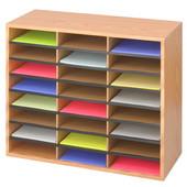 Wood/Corrugated Literature Organizer, 24 Compartment, Medium Oak, 29''W x 12''D x 23-1/2''H